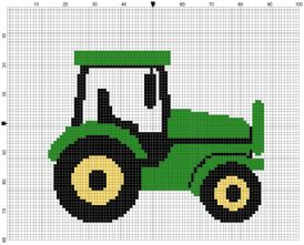 Beginner's Green Tractor Counted Cross Stitch Sewing Kit
